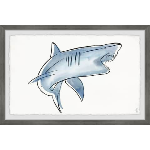 Marmont Hill - Handmade Biting Shark Framed Print