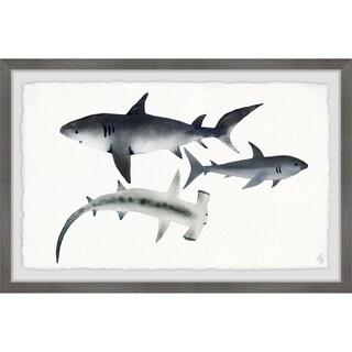 Marmont Hill - Handmade Gray Sharks Framed Print