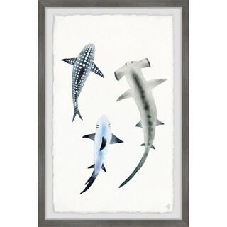 Marmont Hill - Handmade Shark Trio Framed Print