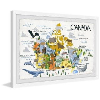 Marmont Hill - Handmade Yellow Canadian Map Framed Print