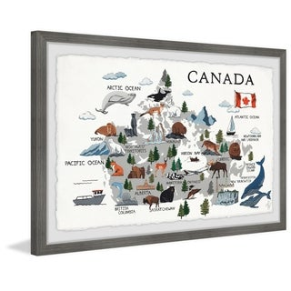Marmont Hill - Handmade Gray Canadian Map Framed Print