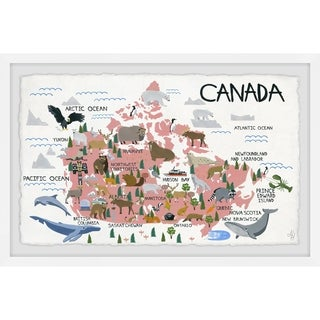 Marmont Hill - Handmade Pink Canadian Map Framed Print