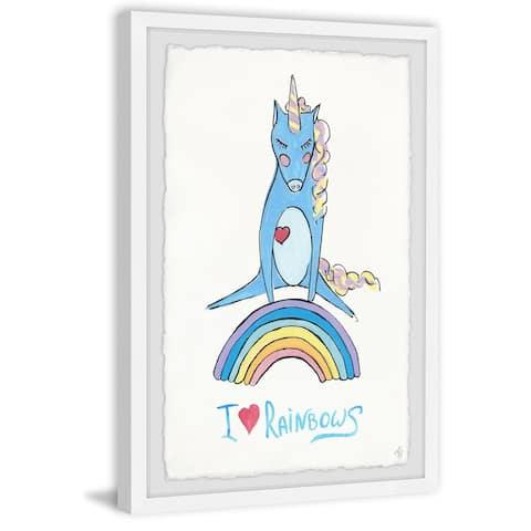 Marmont Hill - Handmade Playful Rainbow Unicorn Framed Print