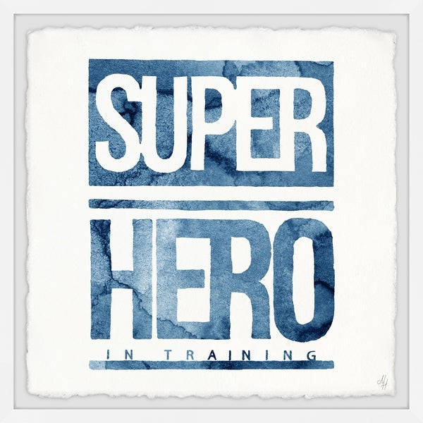 Marmont Hill - Handmade Blue Superhero in Training Sign Framed Print