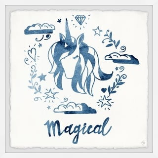 Marmont Hill - Handmade Magical Blue Unicorn Framed Print