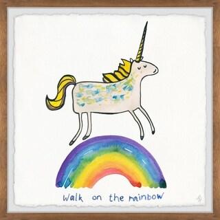 Marmont Hill - Handmade Unicorn Rainbow Walk Framed Print