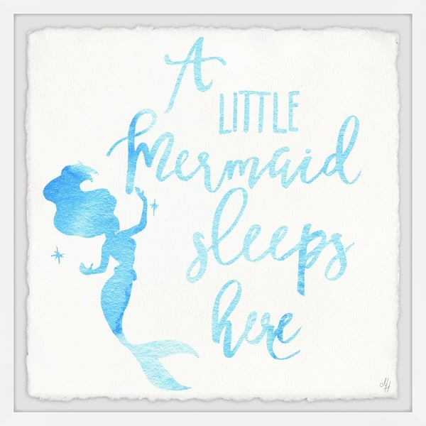 Marmont Hill - Handmade A Little Mermaid Sleeps Here Framed Print