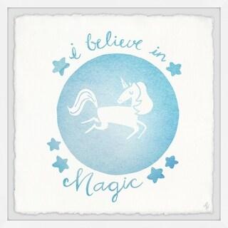 Marmont Hill - Handmade Blue Unicorn Crystal Ball Framed Print