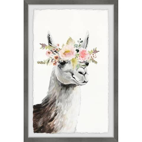 Marmont Hill - Handmade Floral Crowned Side View Llama Framed Print