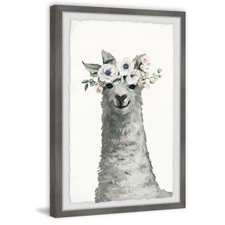 Marmont Hill - Handmade Floral Crowned Llama Framed Print