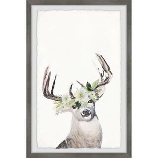 Marmont Hill - Handmade Floral Crowned Reindeer Framed Print
