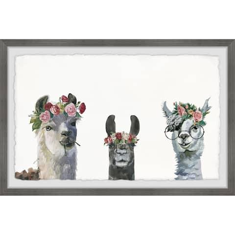 Marmont Hill - Handmade Flower-crowned Llamas Framed Print