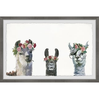 Marmont Hill - Handmade Flower-crowned Llamas Framed Print