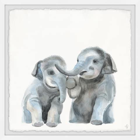 Marmont Hill - Handmade Baby Elephants Framed Print