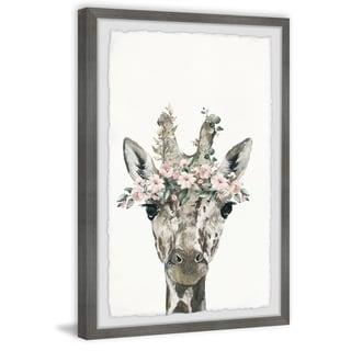 Marmont Hill - Handmade Floral Crowned Giraffe Framed Print
