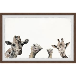 Marmont Hill - Handmade Giraffes and Ostriches Framed Print
