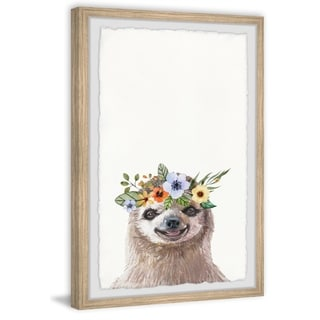 Marmont Hill - Handmade Floral Crowned Sloth Framed Print