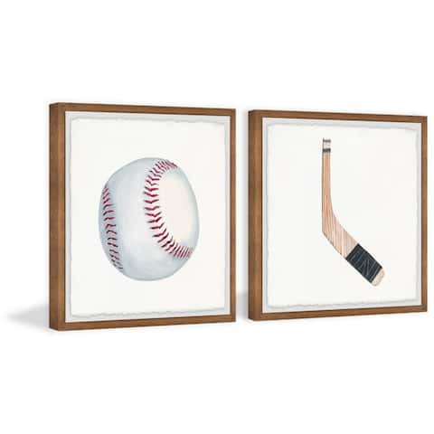 Marmont Hill - Handmade Baseball and Hockey Stick Diptych - Multi-color