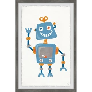 Marmont Hill - Handmade Happy Blue Robot Framed Print