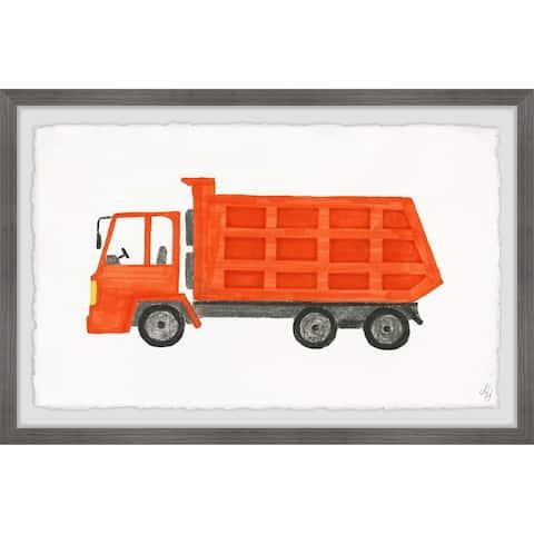 Marmont Hill - Handmade Orange Dump Truck Framed Print