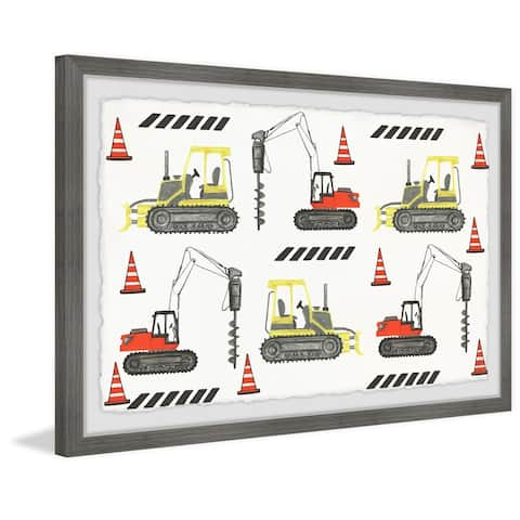 Marmont Hill - Handmade Bulldozer and Drill Duo Framed Print