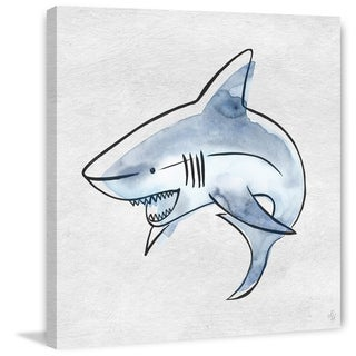 Marmont Hill - Handmade Powerful Shark Print on Wrapped Canvas
