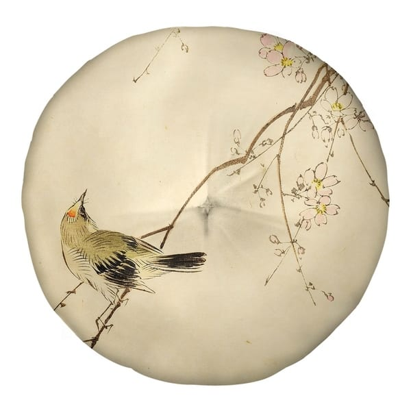 Keito Sato Vintage Japanese Bird And Blossoms Watercolor Floor Pillow Square Tufted Overstock 27500369
