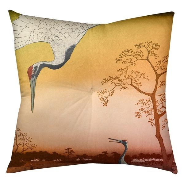 Utagawa Hiroshige Japanese Cranes in Orange Floor Pillow - Square Tufted. Opens flyout.