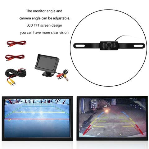 4.3inch TFT LCD Monitor Night Vision Car Reverse Backup Rear View Camera