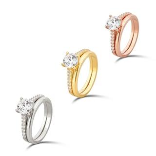 07597884d Shop Divina Sterling Silver Round Swarovski Cubic Zirconia Bridal ...