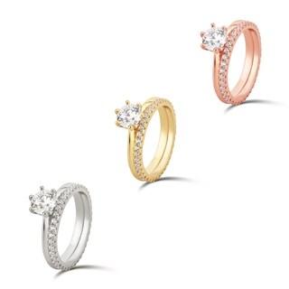 Divina Sterling Silver Round Swarovski Cubic Zirconia Bridal Set