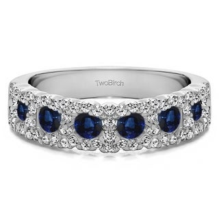 10k Gold Alternating Small And Large Round Wedding Ring With Genuine Sapphire Diamonds 0 84 Cts Twt
