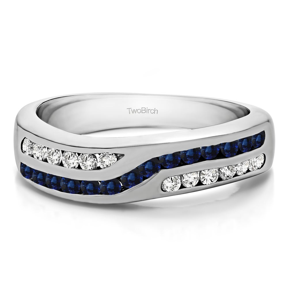Diamond Wedding Band in Sterling Silver 1//5 cttw, G-H,I2-I3 Size-6.75