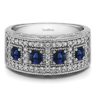 Sterling Silver Vintage Pave Set Anniversary Ring With Genuine Sapphire Diamonds 1 01 Cts Twt