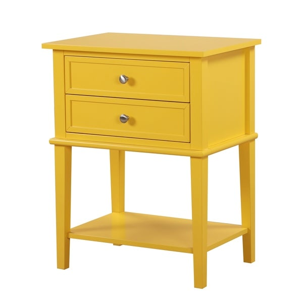 LYKE Home 2-Drawer Yellow Nightstand