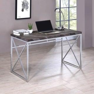 Contemporary Grey Herringbone Design Home Office Computer Writing Desk
