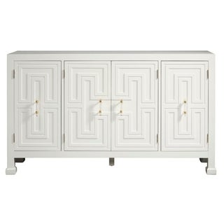 Modern Geometric White Finish Four Door Credenza Console Chest