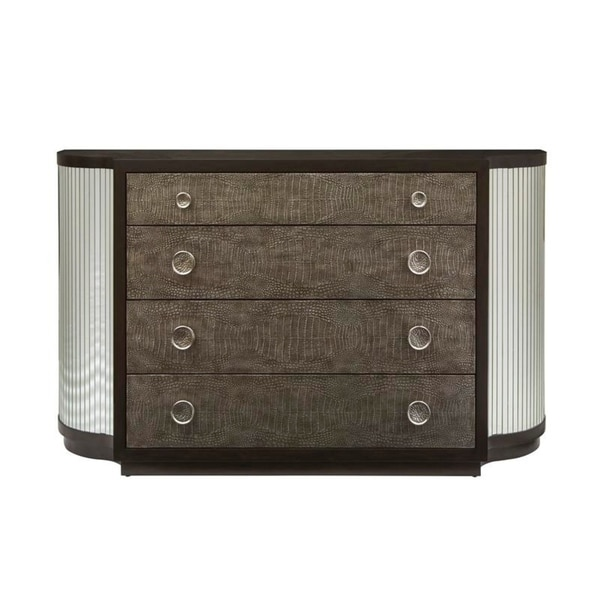 Modern Walnut Finish Mirrored and Leather Four Drawer Console Chest