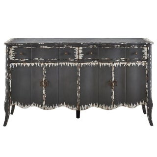 Distressed Charcoal Grey Finish Four Door Credenza Console Chest