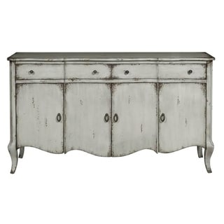 Distressed Grey Finish Four Door Credenza Console Chest