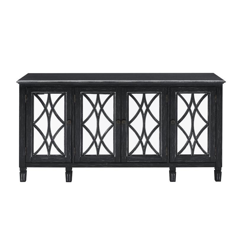 Overstock Distressed Black Finish Four Door Mirrored Credenza Console Chest (Black)