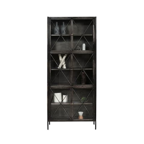 Distressed Metal Graphite Finish Industrial Display Cabinet