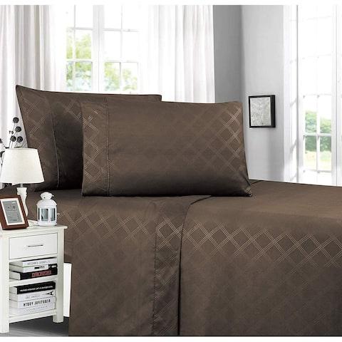 Elegant Comfort Plaid Embossed 4-Piece Bed Sheet & Pillowcase Set