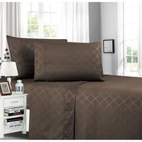Plaid Embossed 4-Piece Bed Sheet & Pillowcase Set Wrinkle and Fade Resistant