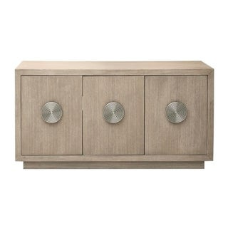 Link to Modern Light Oak Finish Three Door Credenza Console Chest - 65.0  X 20.0  X 34.0  Similar Items in Dining Room & Bar Furniture