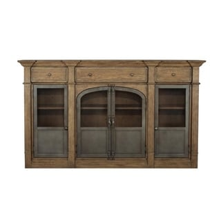 Oak Brown Finish Metal Door Sideboard Cabinet Chest