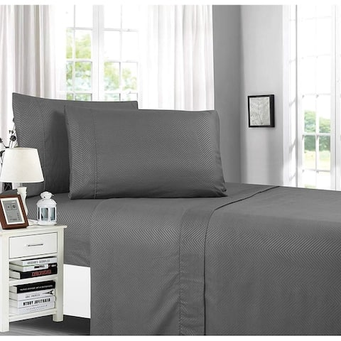 Elegant Comfort Chevron Embossed 4-Piece Bed Sheet & Pillowcase Set