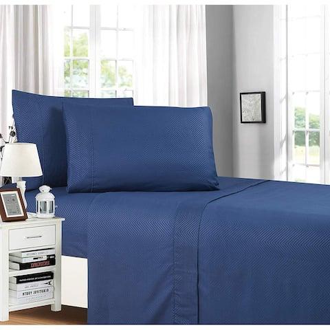 Elegant Comfort Chevron Embossed 4-Piece Bed Sheet & Pillowcase Set