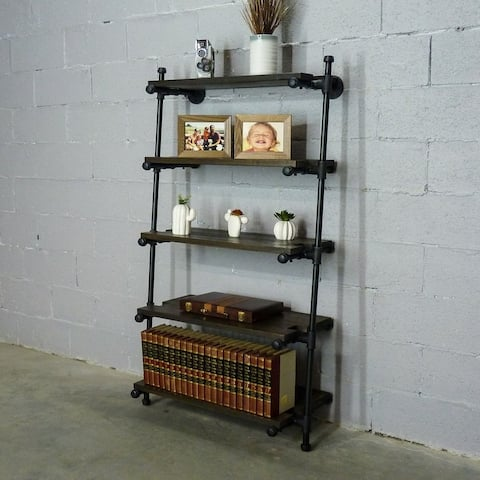 """Furniture Pipeline Orlando Industrial 60"""" Tall Leaning Bookcase"""