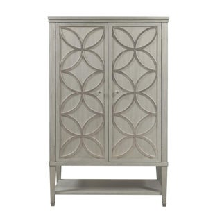Silver Leaf Finish Modern Storage Door Cabinet
